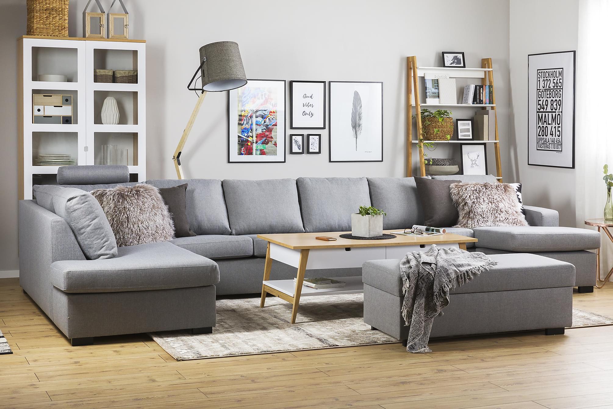 crazy u sofa xxxl venstre lysegr. Black Bedroom Furniture Sets. Home Design Ideas