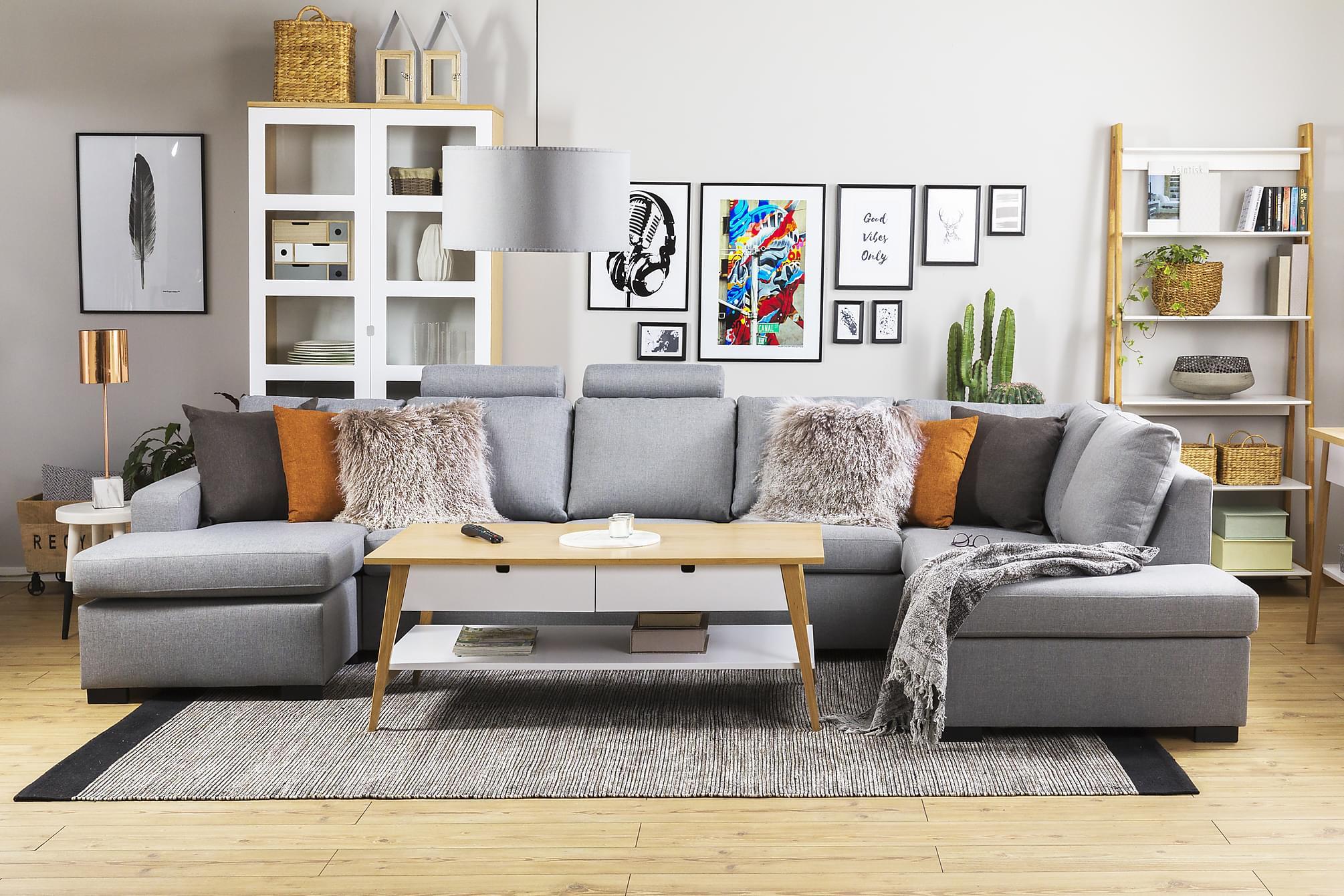 crazy u sofa xxl venstre lysegr. Black Bedroom Furniture Sets. Home Design Ideas