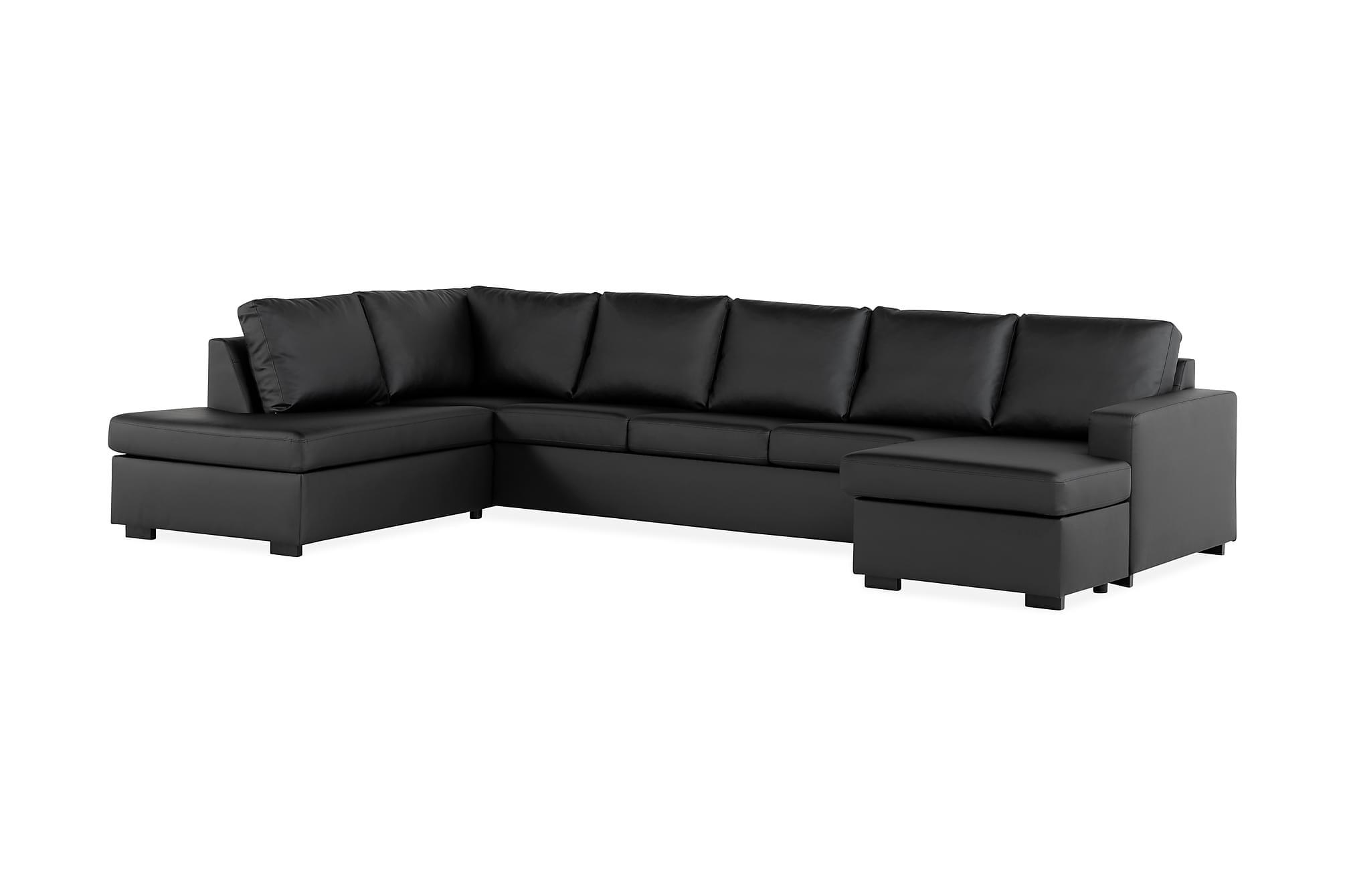 crazy u sofa xxl venstre svart pu. Black Bedroom Furniture Sets. Home Design Ideas